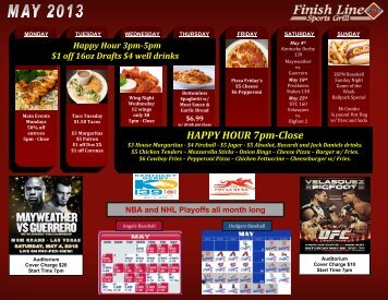 HAPPY HOUR 7pm-Close - Finish Line Sports Grill