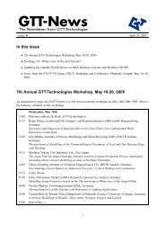 In this issue 7th Annual GTT-Technologies Workshop, May 18-20 ...