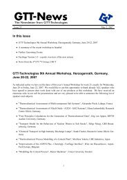 In this issue GTT-Technologies 9th Annual Workshop, Herzogenrath ...