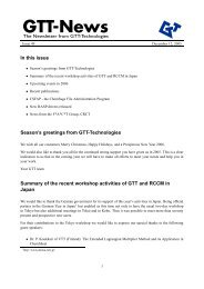 In this issue Season's greetings from GTT-Technologies Summary of ...