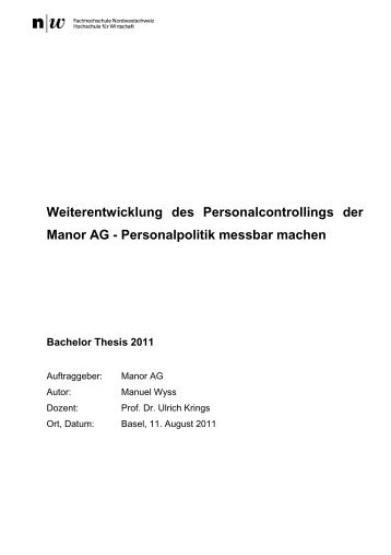bachelor thesis fhnw wirtschaft