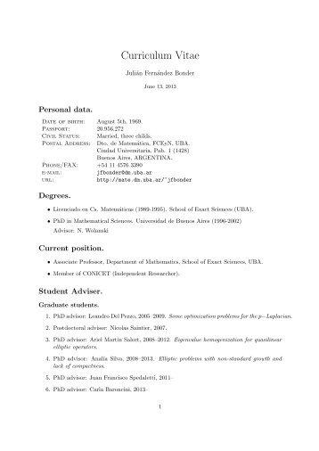 Curriculum Vitae In English Universidad De Buenos Aires