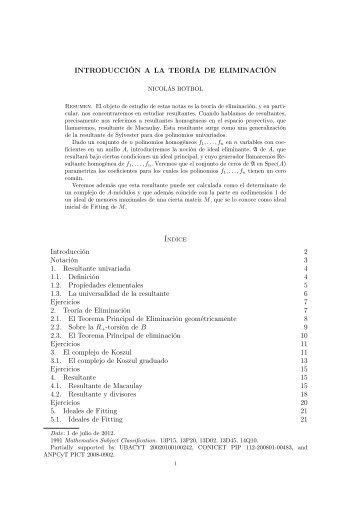 Introducción a la Teoría de Eliminación. - Universidad de Buenos ...