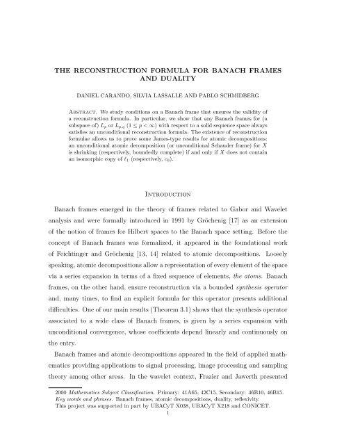 THE RECONSTRUCTION FORMULA FOR BANACH FRAMES AND ...