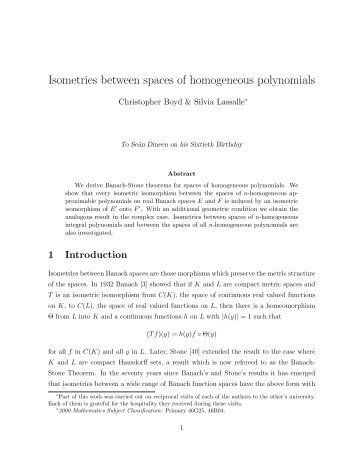 Isometries between spaces of homogeneous polynomials