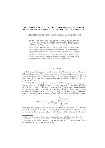 OPTIMIZATION OF THE FIRST STEKLOV EIGENVALUE IN ...