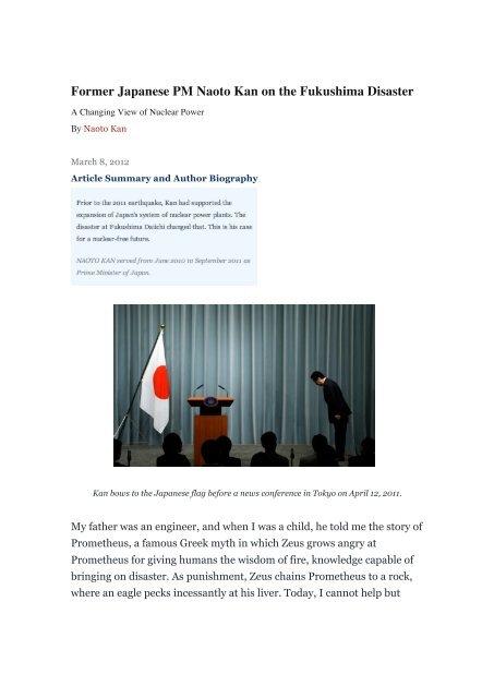 Former Japanese Pm Naoto Kan On The Fukushima Disaster