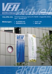 VEH-Aktuell Nr. 33 - Valora Effekten Handel AG