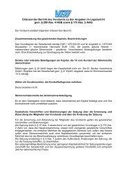 Erläuternder Bericht des Vorstands - Valora Effekten Handel AG