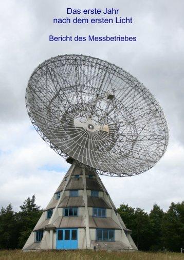 ersten Bericht vom Messbetrieb am Radioteleskop Stockert