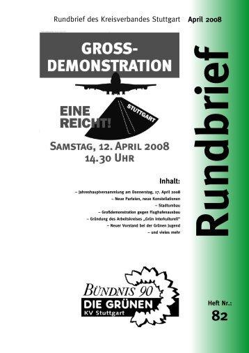 Inhalt: April 2008 Rundbrief des Kreisverbandes ... - Grüne Stuttgart
