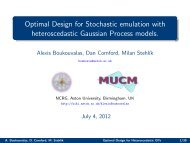 Optimal Design for Stochastic emulation with ... - MUCM
