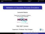 Validation of Gaussian Process Emulators - MUCM