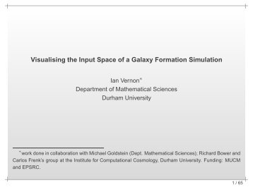 Visualising the Input Space of a Galaxy Formation Simulation - MUCM