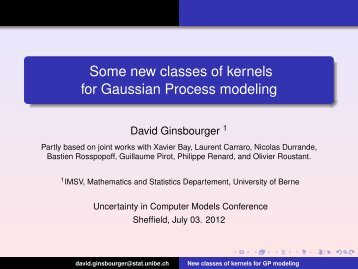 Some new classes of kernels for Gaussian Process modeling - MUCM