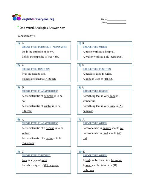 One Word Analogies Answer Key Worksheet 1 - English for Everyone