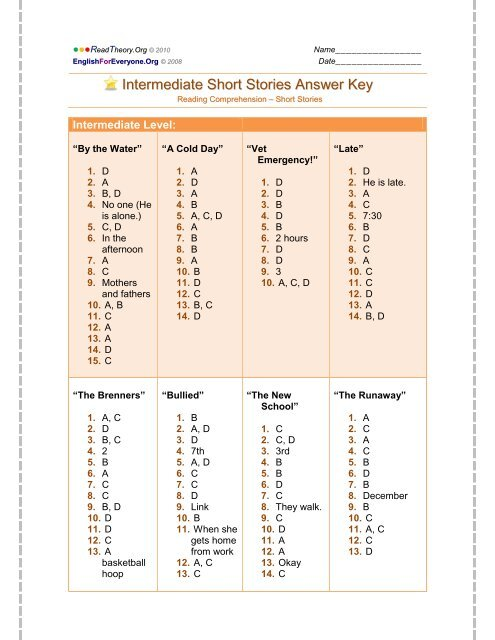 Intermediate Short Stories Answer Key - English for Everyone