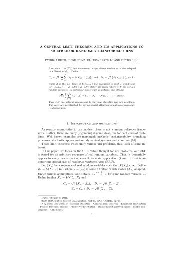 A CENTRAL LIMIT THEOREM AND ITS APPLICATIONS ... - Economia