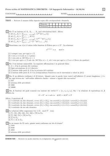 Prova scritta di MATEMATICA DISCRETA - LS Ingegneria Informatica