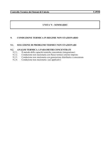 Controllo Termico dei Sistemi di Calcolo U.09/0 UNITA' 9 ...