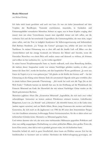 Bruder Mitterand von Michael Kleeberg Ich habe mich kaum ...