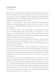 Ernest Hemingway von Michael Kleeberg Man kann das Leben und ...