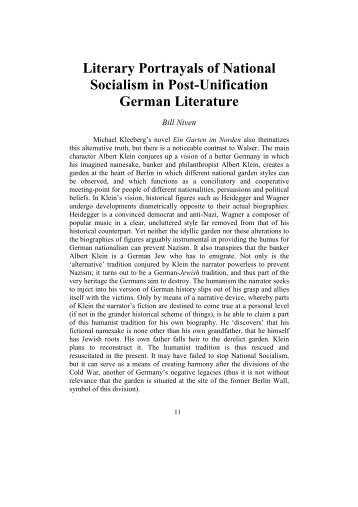 Literary Portrayals of National Socialism in Post ... - Michael Kleeberg