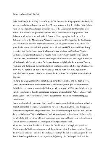 Kanon Dschungelbuch Kipling Es ist das Urbuch ... - Michael Kleeberg
