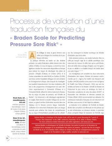 Processus de validation d'une traduction française du - Canadian ...