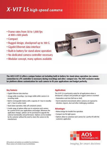 X-VIT LShigh-speed camera - AOS Technologies AG