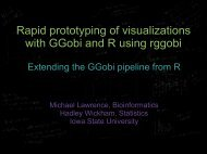 Rapid prototyping of visualizations with GGobi ... - Hadley Wickham