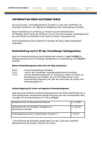 INFORMATION ÜBER KOSTENBEITRÄGE Kostenbeitrag nach § 85 ...