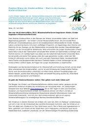 Positive Bilanz der KinderuniWien - Kinderbüro an der Universität ...