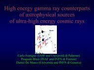 High energy gamma ray counterparts of astrophysical sources ... - Infn