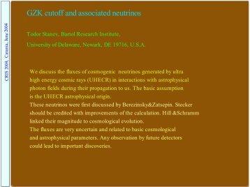 GZK cutoff and associated neutrinos