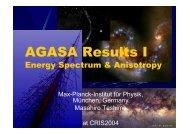 AGASA Results I