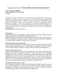 Teoria delle interazioni sub-nucleari - Dipartimento di Fisica e ...