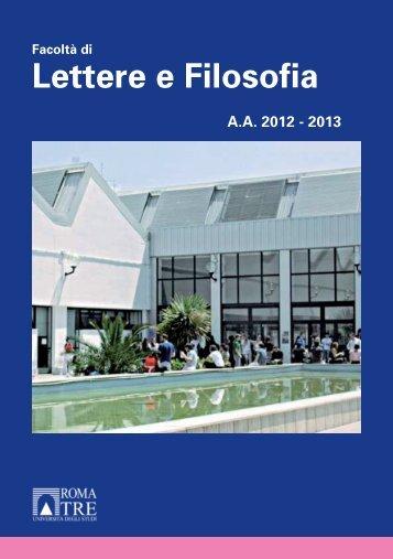 Lettere e Filosofia - Servizio di hosting - Università degli Studi Roma ...