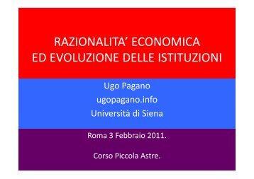 RAZIONALITA' ECONOMICA ED EVOLUZIONE DELLE ISTITUZIONI