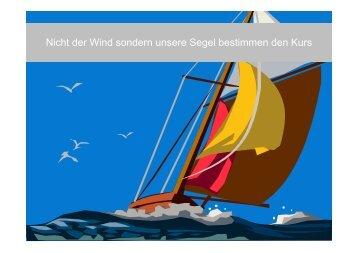 Nicht der Wind sondern unsere Segel bestimmen den Kurs