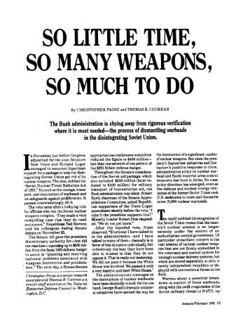 so little time, so many weapons - Natural Resources Defense Council