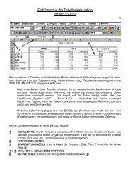 Einführung in die Tabellenkalkulation mit MS EXCEL