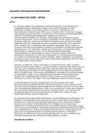 - ai Jahresbericht 2006 - Afrika amnesty international Deutschland