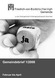 Gemeindebrief 1/2008 Februar bis April - Bodelschwingh-Kirche