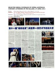 SELECTED MEDIA COVERAGE OF OPERA ... - Imagine Australia