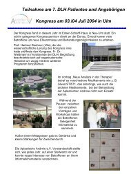 Teilnahme am 7. DLH Patienten und ... - Aplastische Anämie ev