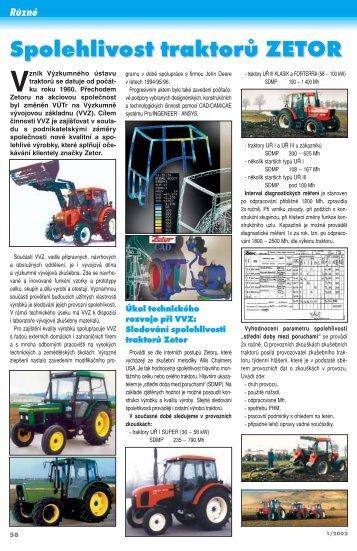 Spolehlivost traktorů ZETOR - Shrani.si