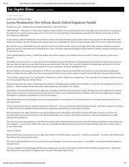 Levees Weakened as New Orleans Board, Federal Engineers Feuded