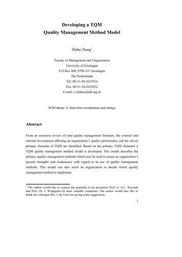 Developing a TQM Quality Management Method Model