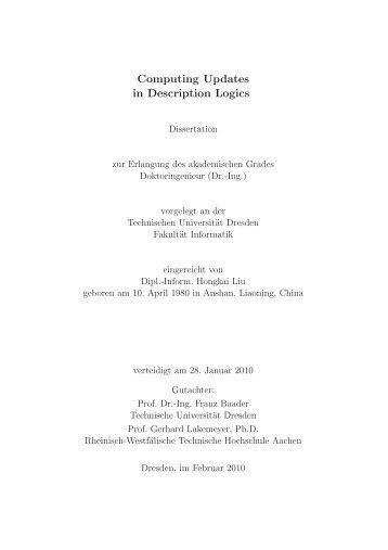 Computing Updates in Description Logics - Technische Universität ...